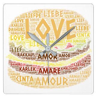 Reloj Cuadrado Hamburguesa ilustrada con palabra del amor