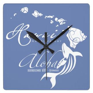 Reloj Cuadrado Hawaiana de la ballena de Hawaii