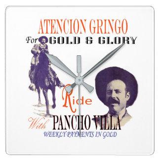 Reloj Cuadrado Héroe del mexicano de general Pancho Villa