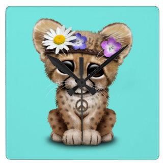 Reloj Cuadrado Hippie lindo de Cub del guepardo