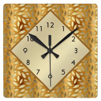 Reloj Cuadrado Hojas elegantes del oro