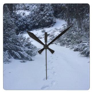 Reloj Cuadrado Huellas de la nieve