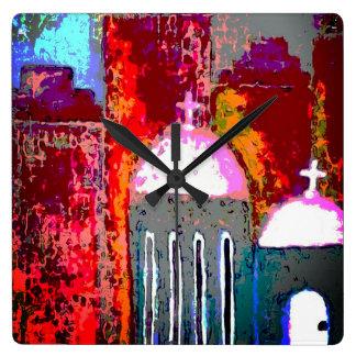 Reloj Cuadrado Iglesia rosada de la ciudad