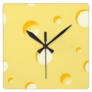 Reloj Cuadrado Ilustracion de la rebanada del queso