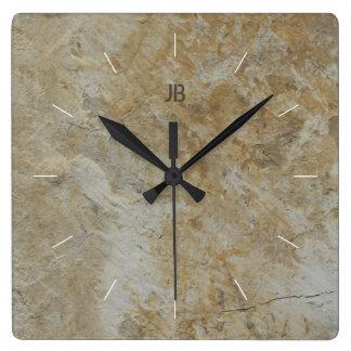 Reloj Cuadrado Imagen de piedra texturizada natural de la CARA el