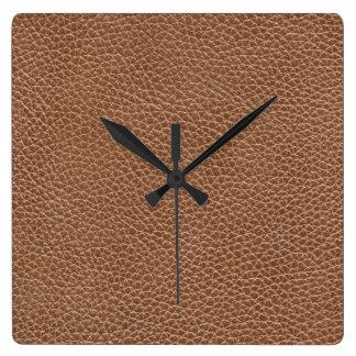 Reloj Cuadrado Imitación de cuero Brown natural