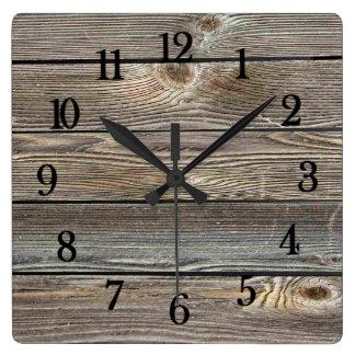 Reloj Cuadrado Impresión horizontal de madera de mirada auténtica