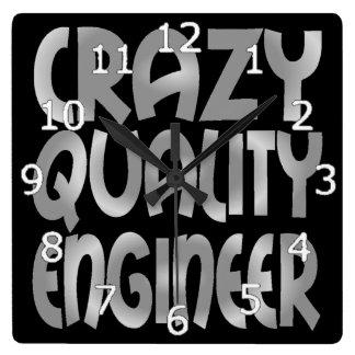 Reloj Cuadrado Ingeniero loco de la calidad en plata