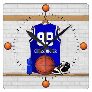 Reloj Cuadrado Jersey azul y blanco personalizado del baloncesto