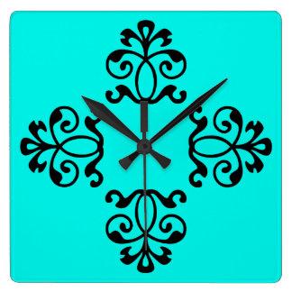 Reloj Cuadrado La aguamarina rayó estilo floral del vintage