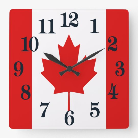 Reloj Cuadrado La bandera de la hoja de arce de Canadá