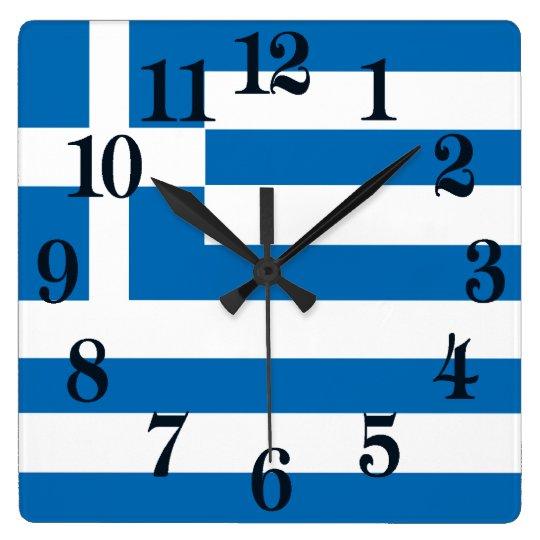 Reloj Cuadrado La bandera nacional de Grecia