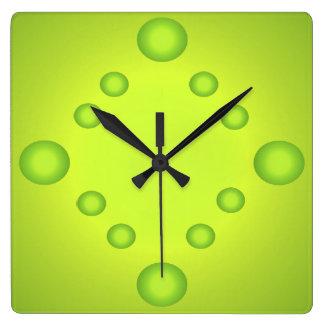 Reloj Cuadrado La cal inusual del arte pop asolea el verde 4 del