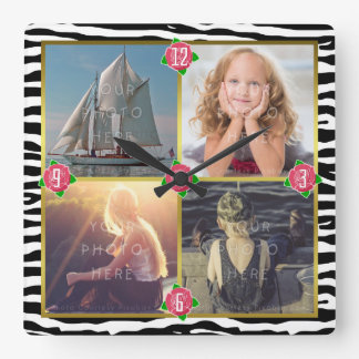 Reloj Cuadrado La foto de familia añade 4 rosas de encargo de la