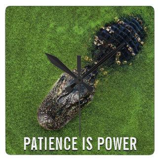 Reloj Cuadrado La paciencia es poder • Cocodrilo • Naturaleza de