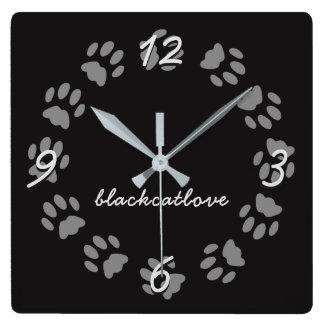 Reloj Cuadrado La pata personalizada del gato negro imprime el