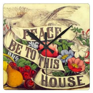 Reloj Cuadrado La paz esté a esta casa