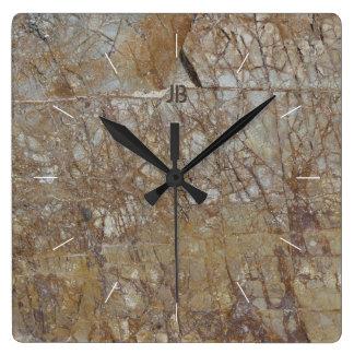 Reloj Cuadrado La ROCA AGRIETA la imagen de piedra texturizada