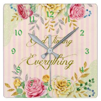 Reloj Cuadrado La sincronización de dios floral del vintage