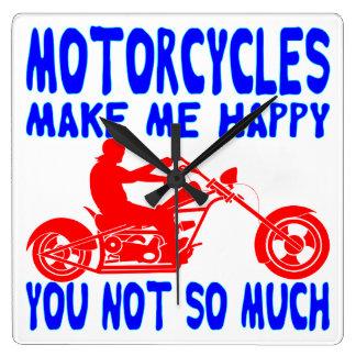Reloj Cuadrado Las motocicletas le hacen me feliz no tanto