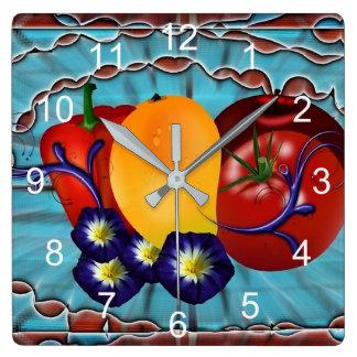 Reloj Cuadrado Legumbres de frutas