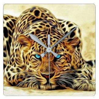 Reloj Cuadrado Leopardo del ojo azul