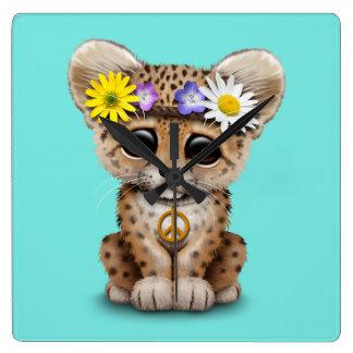 Reloj Cuadrado Leopardo lindo Cub del Hippie