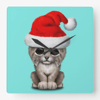 Reloj Cuadrado Lince lindo Cub que lleva un gorra de Santa