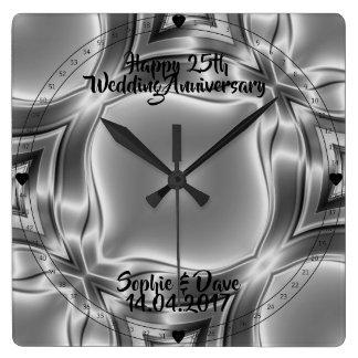 Reloj Cuadrado Líneas 25to aniversario de la plata de bodas de