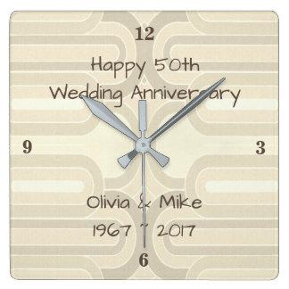 Reloj Cuadrado Líneas Curvy 25ta bodas de plata Anniversar de