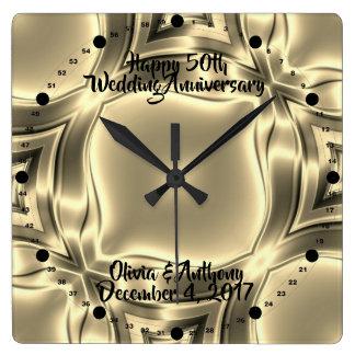 Reloj Cuadrado Líneas de oro 50.as aniversario de boda