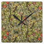 Reloj Cuadrado Lirio dorado de Morris