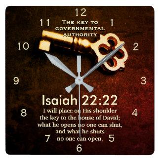 Reloj Cuadrado Llave del 22:22 de Isaías a la casa del verso de
