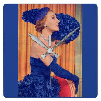 Reloj Cuadrado los años 50 hermosos en azul