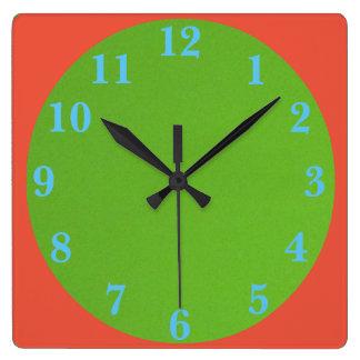 Reloj Cuadrado los años 50 verde y naranja