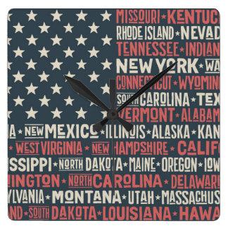 Reloj Cuadrado Los Estados Unidos de América |States y capitales