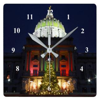 Reloj Cuadrado Luces del árbol de navidad del capitolio del