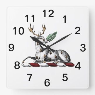 Reloj Cuadrado Macho de los ciervos con el emblema heráldico del