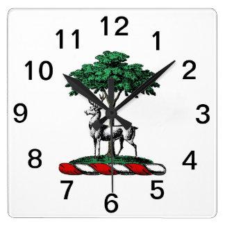 Reloj Cuadrado Macho de los ciervos por el emblema heráldico del