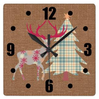 Reloj Cuadrado Macho y árbol de navidad de Boho en efecto de la