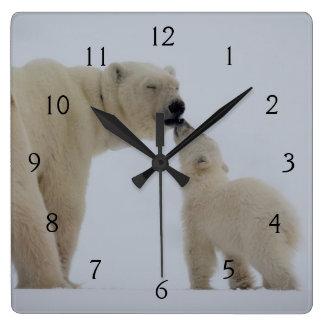 Reloj Cuadrado Madre del oso polar con Cub