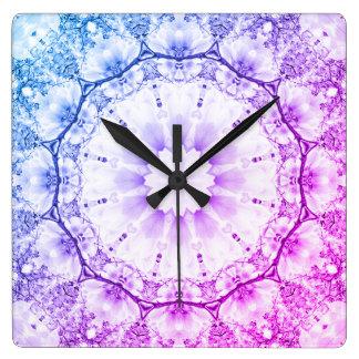Reloj Cuadrado Mandala-estilo floral, flores 2,2