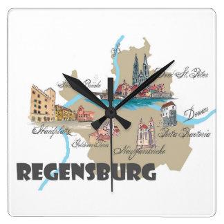 Reloj Cuadrado Mapa de Regensburg Alemania