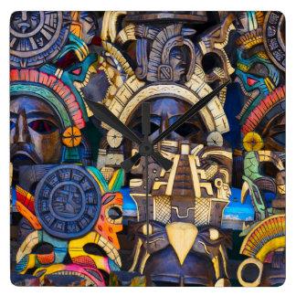 Reloj Cuadrado Máscaras de madera mayas para la venta