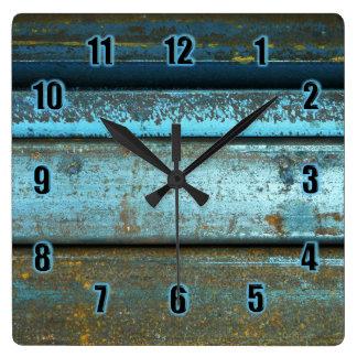Reloj Cuadrado Metal aherrumbrado resistido rugoso del azul y del
