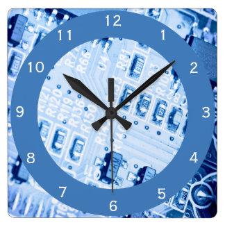 Reloj Cuadrado Modelo azul de la placa madre del ordenador