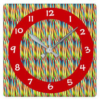 Reloj Cuadrado Modelo colorido moderno de las rayas