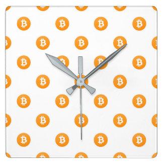 Reloj Cuadrado Modelo del logotipo de Bitcoin
