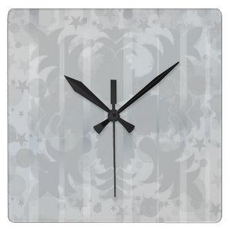 Reloj Cuadrado Modelo floral del gris de plata del vintage