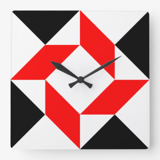 Reloj Cuadrado Modelo geométrico abstracto blanco negro rojo